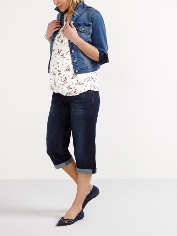 Dark Wash Maternity Boyfriend Denim Capri