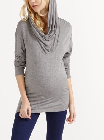 Long Sleeve Cowl Neck Maternity Tunic