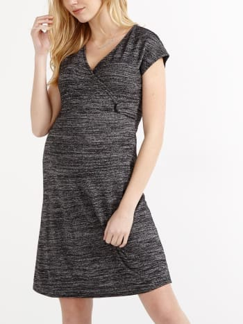 Cap Sleeve Maternity Dress with Knotted Detail