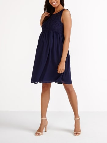 Stork & Babe- Fit And Flare Maternity Dress with Lace