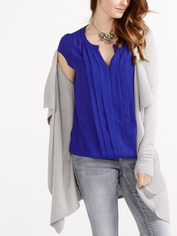 Cap Sleeve Pleated Nursing Blouse