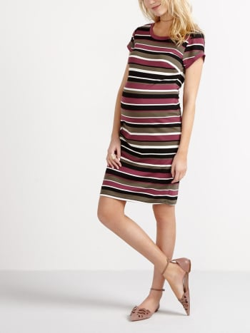 Short Sleeve Striped Maternity Dress