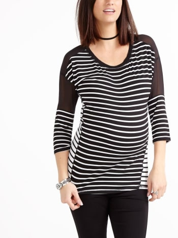 Stork & Babe - 3/4 Sleeve Striped Maternity Top
