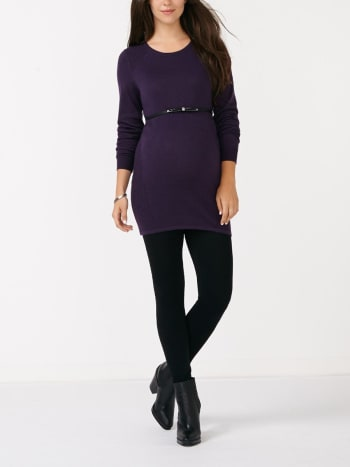 Long Sleeve Pointelle Knit Maternity Tunic