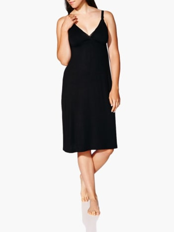 Sleeveless Nursing Nightdress.Black.XS