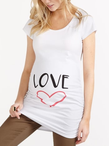 Printed Scoop Neck Maternity T-Shirt