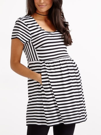 Stork & Babe - Short Sleeve Striped Maternity Top