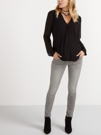 Long Sleeve Crossover Nursing Blouse