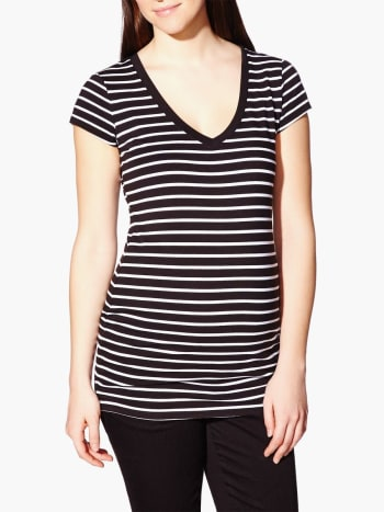 Short Sleeve Striped Maternity T-Shirt