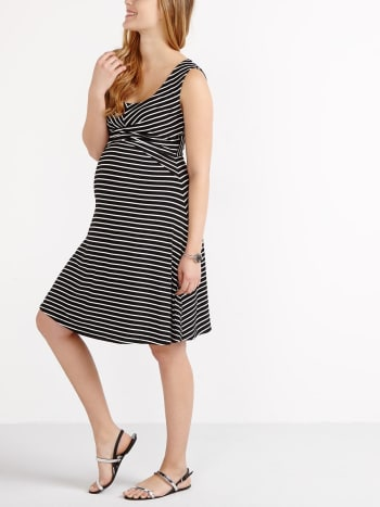 Stork & Babe - Sleeveless Striped Flared Maternity Dress