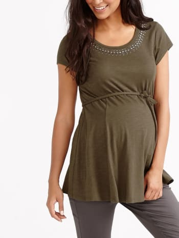 Short Sleeve Beaded Maternity Top