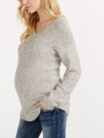 Long Sleeve Maternity Sweater with Bow