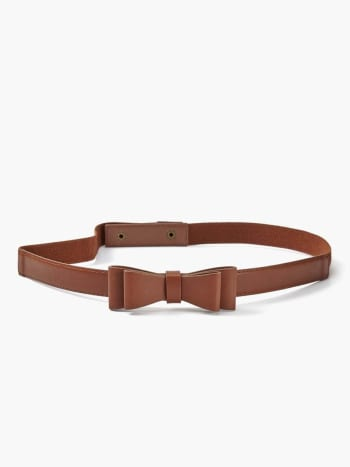 Faux-Leather Bow Maternity Belt.Cognac.S/M