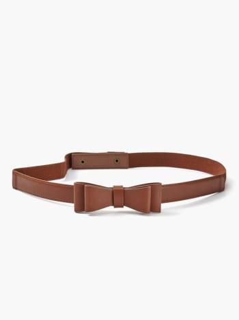 Faux-Leather Bow Maternity Belt.Cognac.S/M