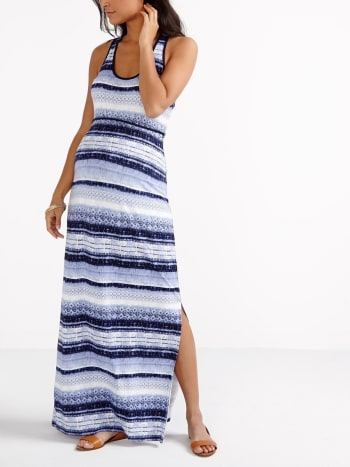 Sleeveless Printed Maternity Maxi Dress
