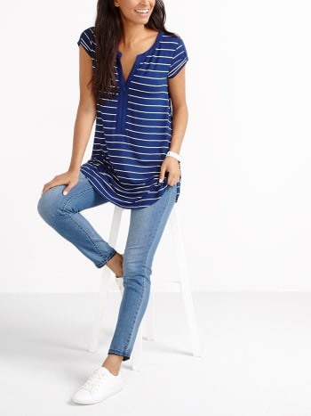 Short Sleeve Striped Nursing Tunic