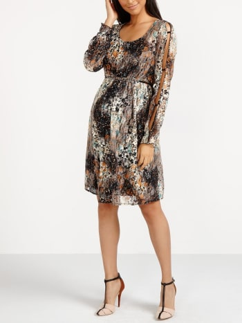 Printed Lace Maternity Dress