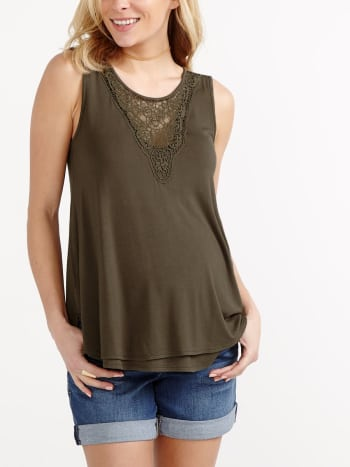 Sleeveless Maternity Top with Crochet