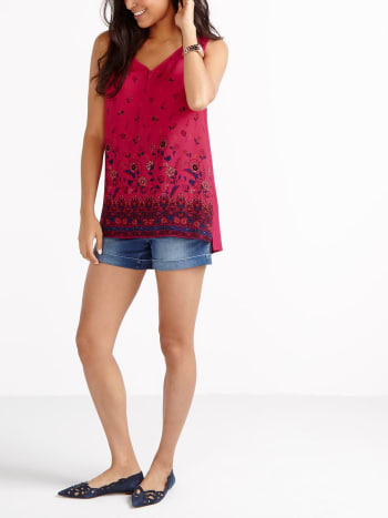Sleeveless Printed Nursing Top