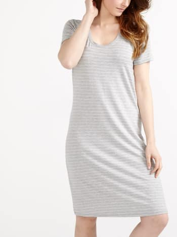 Short Sleeve Striped Nursing Sleepshirt