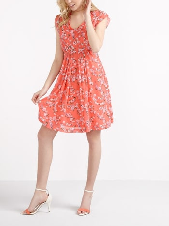 Flutter Sleeve Printed Nursing Dress