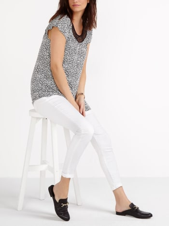 Cap Sleeve Printed Nursing Top with Crochet