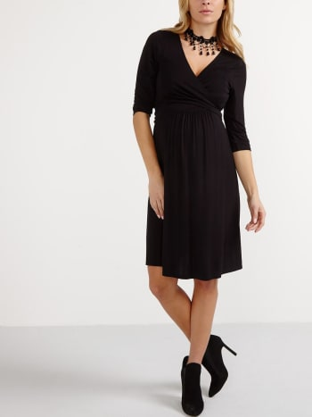 3/4 Sleeve Wrap Nursing Dress