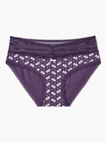 Lace Trim Printed Hipster Maternity Panty