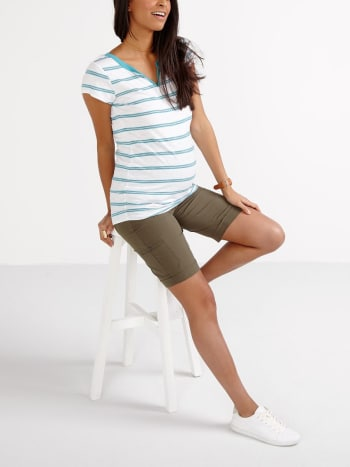 Striped Split Neck Maternity T-Shirt