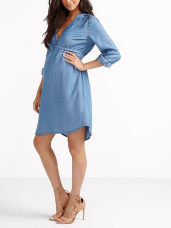 Long Sleeve Denim Maternity Dress