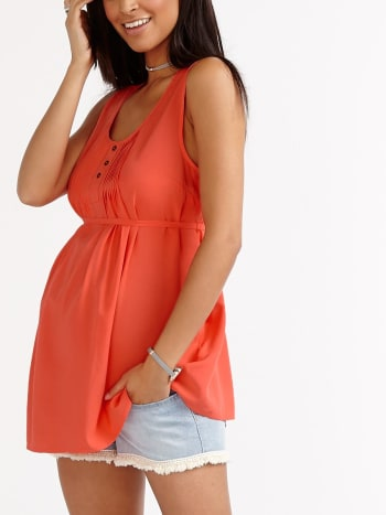 Sleeveless Pintuck Maternity Blouse