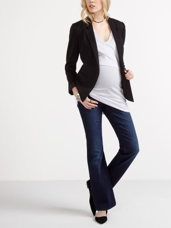 Petite - Bootcut Dark Wash Maternity Jean.Dark Denim.XXS