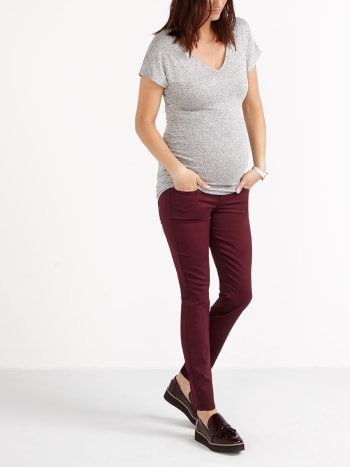 Super Skinny Coloured Sateen Maternity Pant