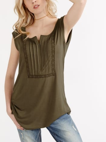 Cap Sleeve Embroidered Nursing Top