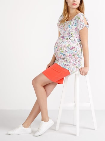 Cold Shoulder Printed Maternity T-Shirt