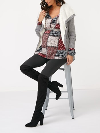 Long Sleeve Maternity Patchwork Peasant Blouse