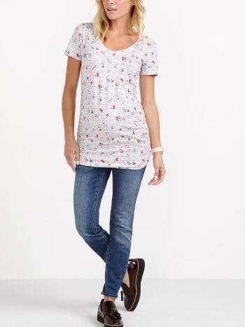 Floral Print Space Dye Maternity T-Shirt