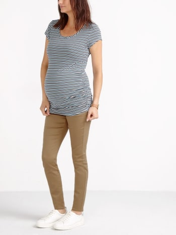 Scoop Neck Striped Maternity T-Shirt