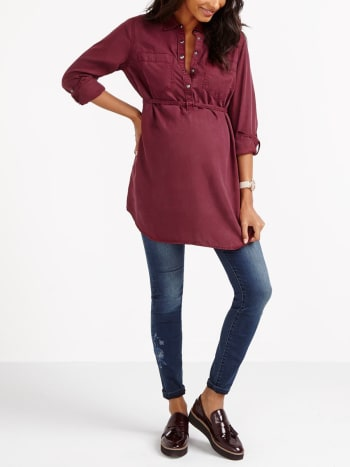 Long Sleeve Tencel Maternity Blouse