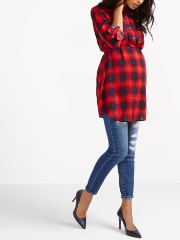 Long Sleeve Maternity Plaid Shirt