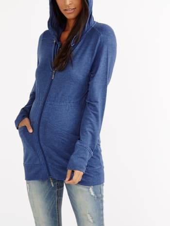 Long Sleeve Maternity Zip Up Hoodie