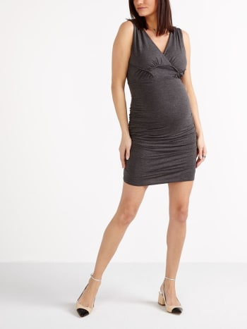 Stork & Babe - Sleeveless Crossover Maternity Dress