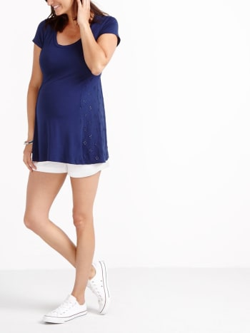 Short Sleeve Eyelet Maternity Top