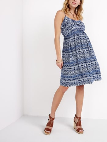 Ruffled Printed Maternity Dress