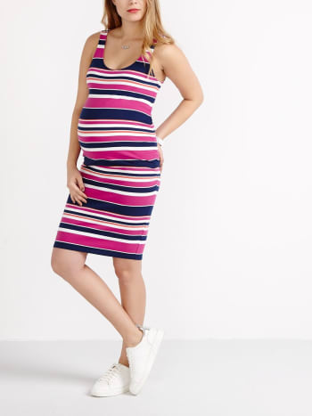 Two-Way Striped Maternity Tank Top Dress