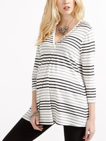 Stork & Babe - 3/4 Sleeve Striped Knit Maternity Top