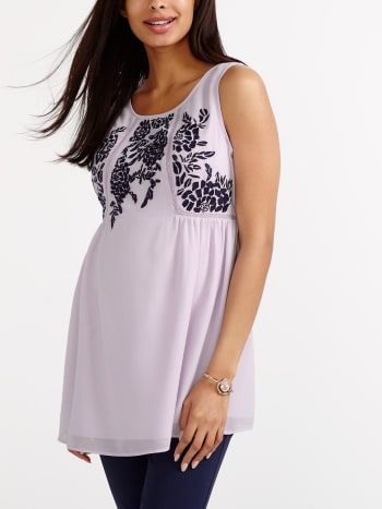 Stork & Babe - Sleeveless Embroidered Maternity Blouse