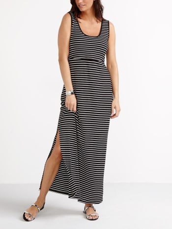 Sleeveless Striped Nursing Maxi Dress