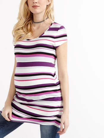 Cap Sleeve Striped Maternity T-Shirt