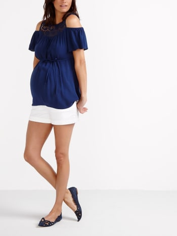 Insider - White Maternity Denim Short